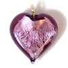 Glass Lamp Pendant Heart 13mm Amethyst/Silver